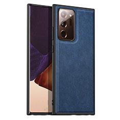 Coque Luxe Cuir Housse Etui pour Samsung Galaxy Note 20 Ultra 5G Bleu