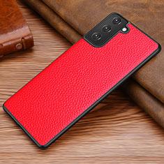 Coque Luxe Cuir Housse Etui pour Samsung Galaxy S21 Plus 5G Rouge