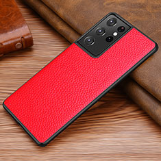 Coque Luxe Cuir Housse Etui pour Samsung Galaxy S21 Ultra 5G Rouge