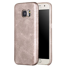 Coque Luxe Cuir Housse Etui pour Samsung Galaxy S7 G930F G930FD Or