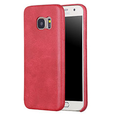 Coque Luxe Cuir Housse Etui pour Samsung Galaxy S7 G930F G930FD Rouge