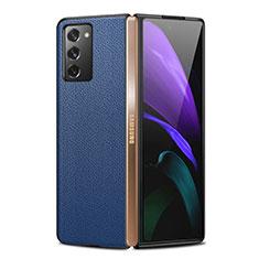 Coque Luxe Cuir Housse Etui pour Samsung Galaxy Z Fold2 5G Bleu