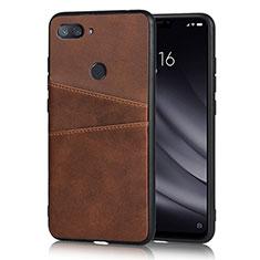 Coque Luxe Cuir Housse Etui pour Xiaomi Mi 8 Lite Marron