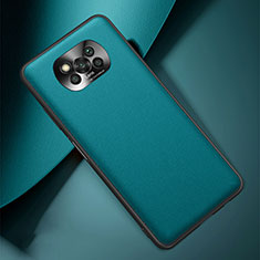 Coque Luxe Cuir Housse Etui pour Xiaomi Poco X3 NFC Cyan