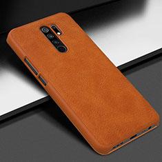 Coque Luxe Cuir Housse Etui pour Xiaomi Redmi 9 Orange