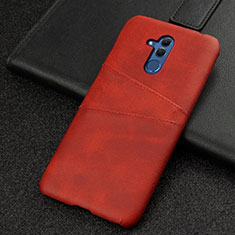 Coque Luxe Cuir Housse Etui R01 pour Huawei Mate 20 Lite Rouge
