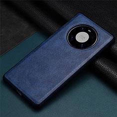 Coque Luxe Cuir Housse Etui R01 pour Huawei Mate 40 Bleu