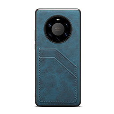 Coque Luxe Cuir Housse Etui R01 pour Huawei Mate 40 Pro+ Plus Bleu