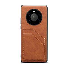 Coque Luxe Cuir Housse Etui R01 pour Huawei Mate 40 Pro+ Plus Marron