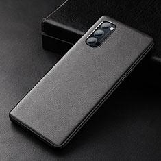 Coque Luxe Cuir Housse Etui R01 pour Oppo Reno4 Pro 5G Noir
