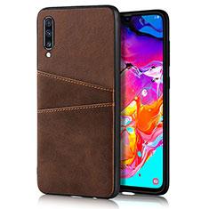 Coque Luxe Cuir Housse Etui R01 pour Samsung Galaxy A70 Marron