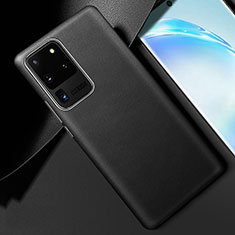 Coque Luxe Cuir Housse Etui R01 pour Samsung Galaxy S20 Ultra Noir