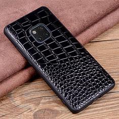 Coque Luxe Cuir Housse Etui R02 pour Huawei Mate 20 Pro Noir