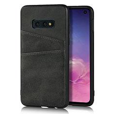 Coque Luxe Cuir Housse Etui R02 pour Samsung Galaxy S10e Noir