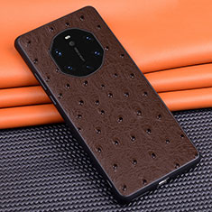 Coque Luxe Cuir Housse Etui R03 pour Huawei Mate 40 RS Marron