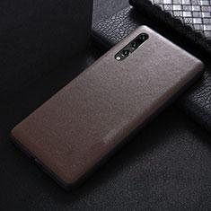 Coque Luxe Cuir Housse Etui R03 pour Huawei P20 Pro Marron