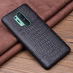 Coque Luxe Cuir Housse Etui R03 pour OnePlus 8 Pro Noir