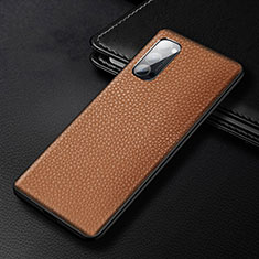 Coque Luxe Cuir Housse Etui R03 pour Oppo Reno4 5G Marron