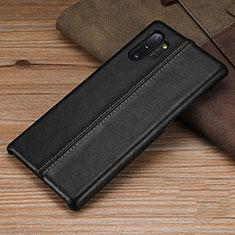 Coque Luxe Cuir Housse Etui R03 pour Samsung Galaxy Note 10 Plus 5G Noir