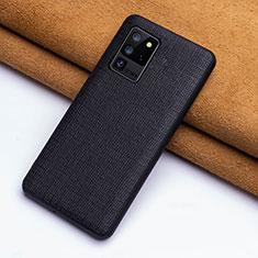 Coque Luxe Cuir Housse Etui R03 pour Samsung Galaxy S20 Ultra 5G Noir
