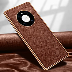 Coque Luxe Cuir Housse Etui R04 pour Huawei Mate 40 Pro Marron