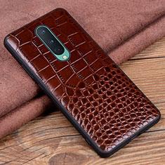 Coque Luxe Cuir Housse Etui R04 pour OnePlus 8 Marron