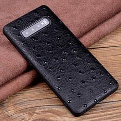 Coque Luxe Cuir Housse Etui R04 pour Samsung Galaxy S10 Plus Noir