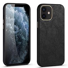 Coque Luxe Cuir Housse Etui R06 pour Apple iPhone 12 Noir