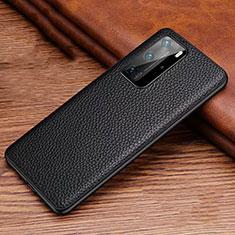 Coque Luxe Cuir Housse Etui R06 pour Huawei P40 Pro Noir