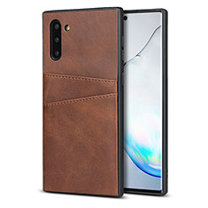 Coque Luxe Cuir Housse Etui R06 pour Samsung Galaxy Note 10 5G Marron