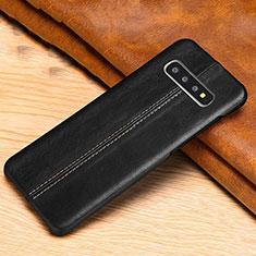 Coque Luxe Cuir Housse Etui R06 pour Samsung Galaxy S10 Noir