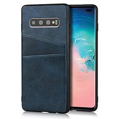 Coque Luxe Cuir Housse Etui R06 pour Samsung Galaxy S10 Plus Bleu