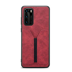 Coque Luxe Cuir Housse Etui R07 pour Huawei P40 Rouge