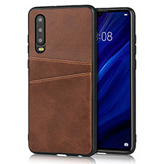 Coque Luxe Cuir Housse Etui R09 pour Huawei P30 Marron