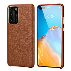 Coque Luxe Cuir Housse Etui R09 pour Huawei P40 Marron