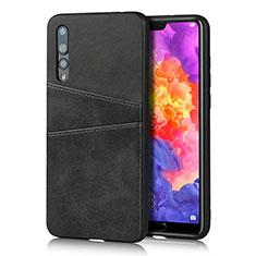 Coque Luxe Cuir Housse Etui R10 pour Huawei P20 Pro Noir