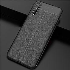 Coque Luxe Cuir Housse Etui S01 pour Huawei Enjoy 10S Noir