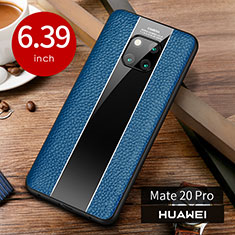 Coque Luxe Cuir Housse Etui S01 pour Huawei Mate 20 Pro Bleu