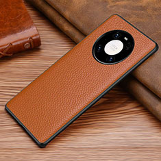 Coque Luxe Cuir Housse Etui S01 pour Huawei Mate 40 Pro Marron