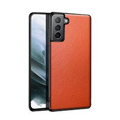 Coque Luxe Cuir Housse Etui S01 pour Samsung Galaxy S21 5G Orange
