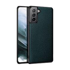 Coque Luxe Cuir Housse Etui S01 pour Samsung Galaxy S21 Plus 5G Vert Nuit