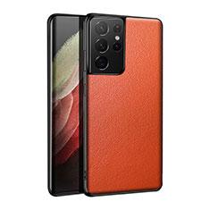 Coque Luxe Cuir Housse Etui S01 pour Samsung Galaxy S21 Ultra 5G Orange