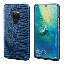 Coque Luxe Cuir Housse Etui S02 pour Huawei Mate 20 Bleu