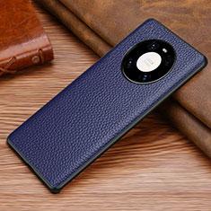 Coque Luxe Cuir Housse Etui S02 pour Huawei Mate 40 Bleu