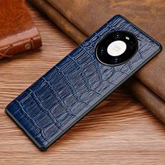 Coque Luxe Cuir Housse Etui S02 pour Huawei Mate 40 Pro Bleu