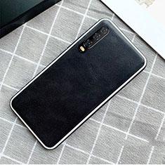 Coque Luxe Cuir Housse Etui S02 pour Huawei P30 Noir