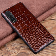 Coque Luxe Cuir Housse Etui S02 pour Oppo Find X2 Marron