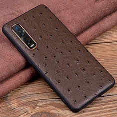 Coque Luxe Cuir Housse Etui S02 pour Oppo Find X2 Pro Marron