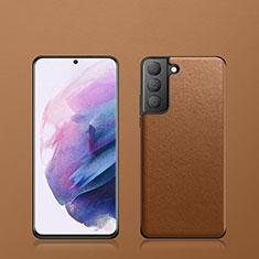Coque Luxe Cuir Housse Etui S02 pour Samsung Galaxy S21 5G Marron