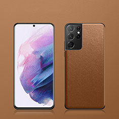 Coque Luxe Cuir Housse Etui S02 pour Samsung Galaxy S21 Ultra 5G Marron